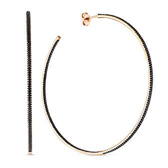 14K Rose Gold Black Diamond Hoop Earrings