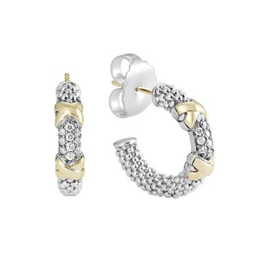 Lagos Sterling Silver & 18K Yellow Gold Diamond Lux Hoop Earrings