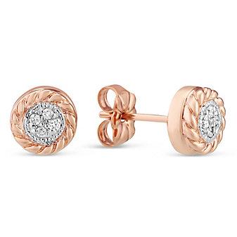 14K Rose Gold Diamond Earrings With Rope Border