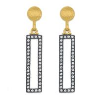24K_Yellow_Gold_&_Sterling_Silver_Diamond_Rectangular_Drop_Earrings