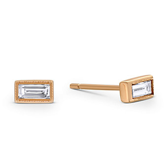 Sethi Couture 18K Rose Gold Baguette Diamond Earrings