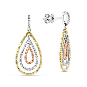 18K Yellow, White & Rose Gold Diamond Drop Earrings