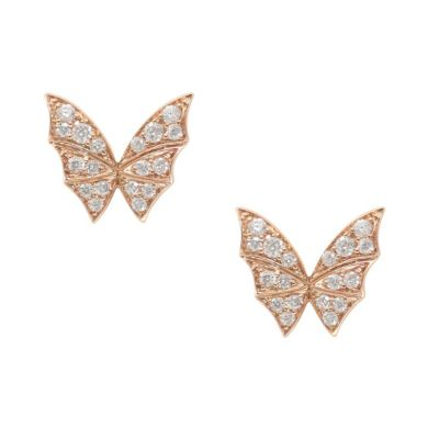 stephen webster 18k rose gold pave diamond fly by night bat wing post earrings