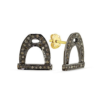 Sterling Silver & Grey Diamond Stirrup-Shaped Stud Earrings