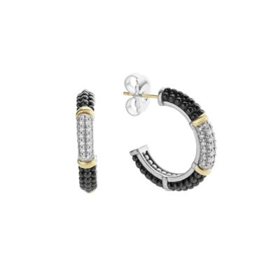 Lagos Sterling Silver Black Caviar Diamond Hoop Earrings