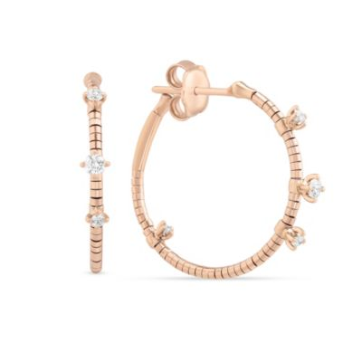 Mattie Cielo 18K Rose Gold Diamond Hoop Earrings