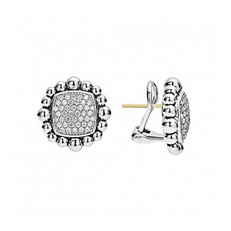 Lagos Sterling Silver Caviar Spark Large Square Diamond Earrings with 14K Yellow Gold Posts