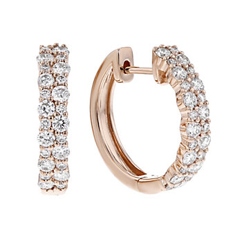 14k rose gold diamond double row huggy hoop earrings