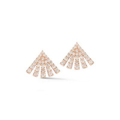 18k rose gold diamond small fan post earrings