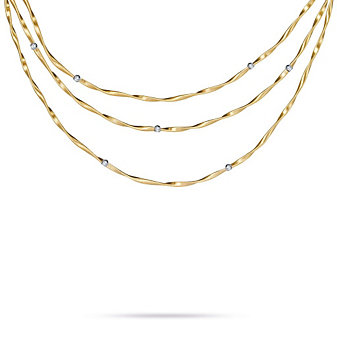 Marco Bicego 18K Yellow Gold Marrakech Diamond Station Three Strand Necklace