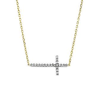 14K Yellow and White Gold Diamond Horizontal Cross