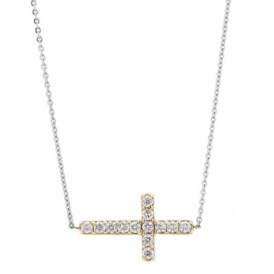 14k yellow & white gold diamond sideways cross necklace