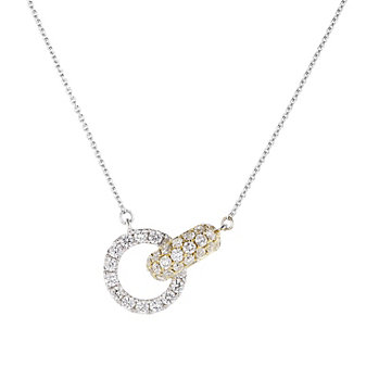 18k two tone yellow and white gold round diamond circle and oval link necklace