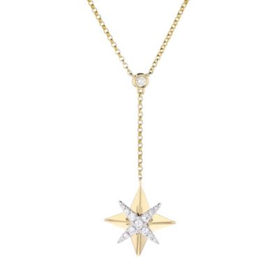 "14k yellow & white gold diamond starburst y necklace, 16""-18"""