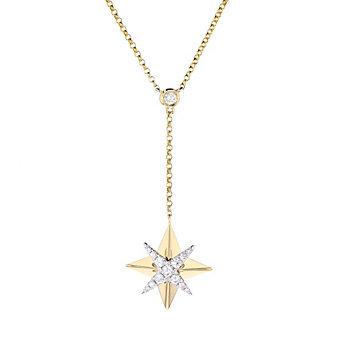 """14k yellow & white gold diamond starburst y necklace, 16""""-18"""""""