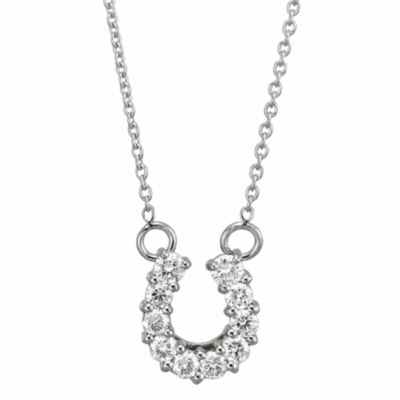 Roberto Coin 18K White Gold Diamond Horseshoe Pendant, 0.23cttw