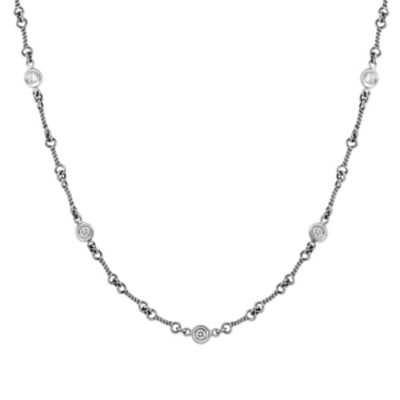 Roberto_Coin_18K_White_Gold_Diamond_Station_Necklace,_16""