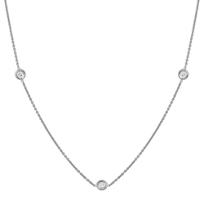 "Roberto_Coin_18K_White_Gold_Three_Station_Diamond_Necklace,_18"""