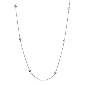 Roberto Coin 18K White Gold Bezel Set Diamond Station Necklace, 18""