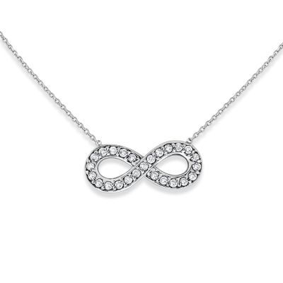 14K White Gold Diamond Small Infinity Necklace