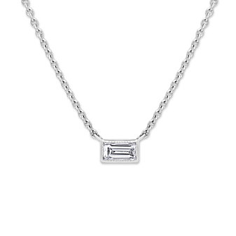 Sethi Couture 18K White Gold Baguette Diamond Necklace, 0.11ct