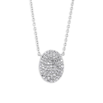 14K White Gold Diamond Pave Oval Pendant