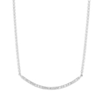 14K_White_Gold_Round_Diamond_Curved_Bar_Necklace,_18""
