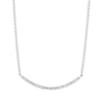 """14K White Gold Round Diamond Curved Bar Necklace, 18"""""""