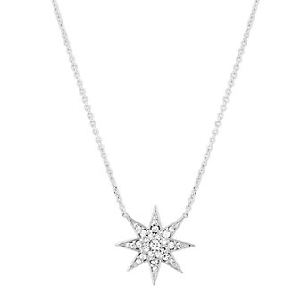 14K White Gold Diamond Starburst Necklace, 16.5""