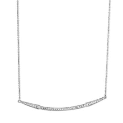 18K White Gold Diamond Curve Necklace, 18""