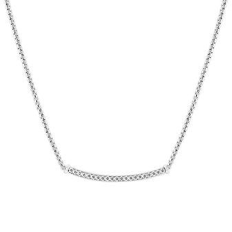 """14K White Gold Curved Bar Diamond Necklace, 17.5"""""""