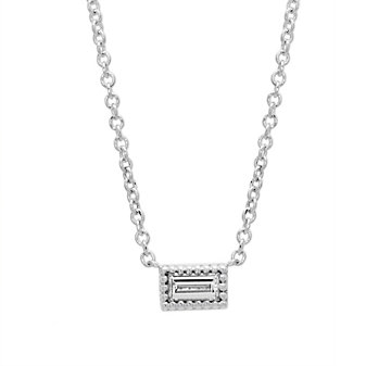 14K White Gold Baguette Diamond Necklace