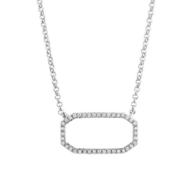 14K White Gold Round Diamond Open Octagon Necklace
