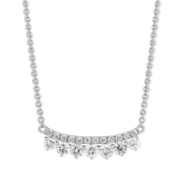 18K_White_Gold_Two_Row_Diamond_Curved_Bar_Necklace,_18""
