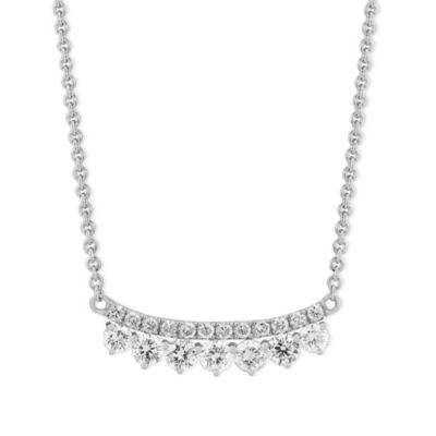 18K White Gold Two Row Diamond Curved Bar Necklace, 18""