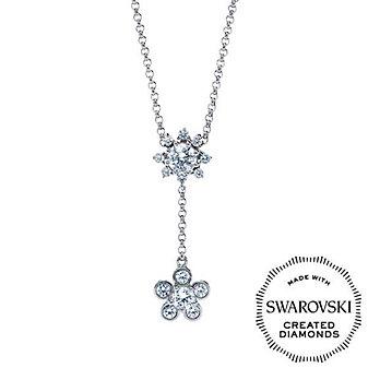 "DIAMA 18K White Gold Bloom Swarovski Created Diamond ""Y"" Necklace"
