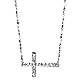 14K White Gold & Black Rhodium Diamond Sideways Necklace
