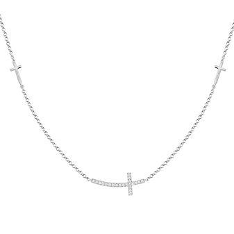 "14K White Gold Diamond Curved Sideways Cross 3 Station Necklace, 18"""