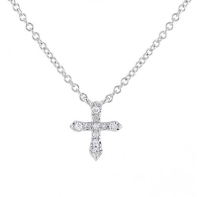 14K White Gold 10 Diamond Cross Necklace, 18""