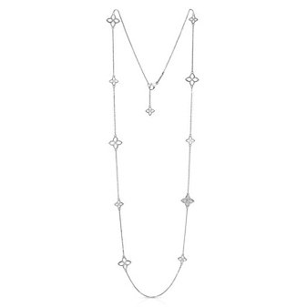 roberto coin 18k white gold diamond princess flower station necklace, 34""