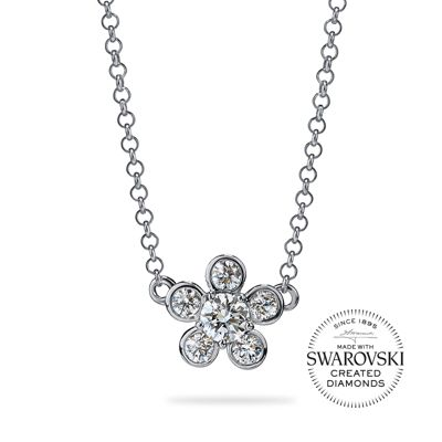 "diama 18k white gold swarovski created diamond bloom floral necklace, 17.5"""