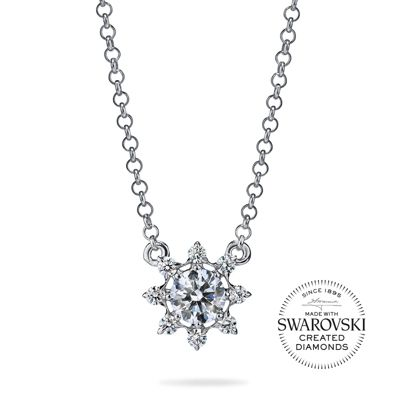 "diama 18k white gold swarovski created diamond bloom starburst necklace, 18"""