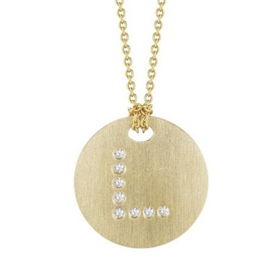 Roberto Coin Tiny Treasures Diamond L Disc Pendant