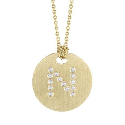 Roberto Coin Tiny Treasures Diamond N Disc Pendant