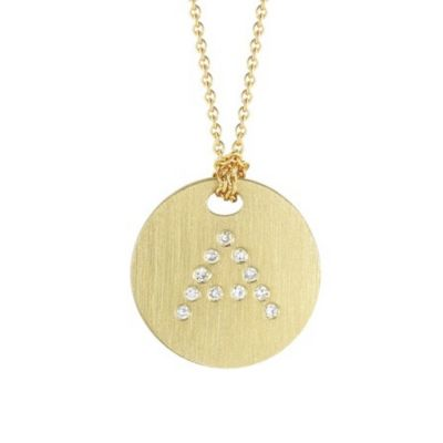 Roberto Coin Tiny Treasures Diamond A Disc Pendant