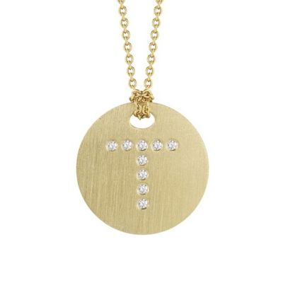 Roberto Coin Tiny Treasures Diamond T Disc Pendant