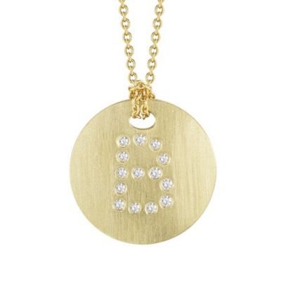 Roberto Coin Tiny Treasures Diamond B Disc Pendant