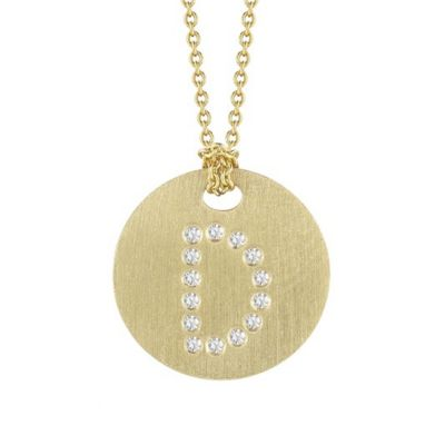 Roberto Coin Tiny Treasures Diamond D Disc Pendant