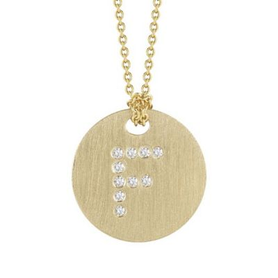 Roberto Coin Tiny Treasures Diamond F Disc Pendant