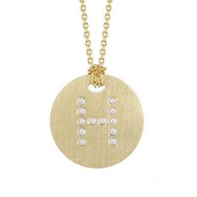 Roberto Coin Tiny Treasures Diamond H Disc Pendant